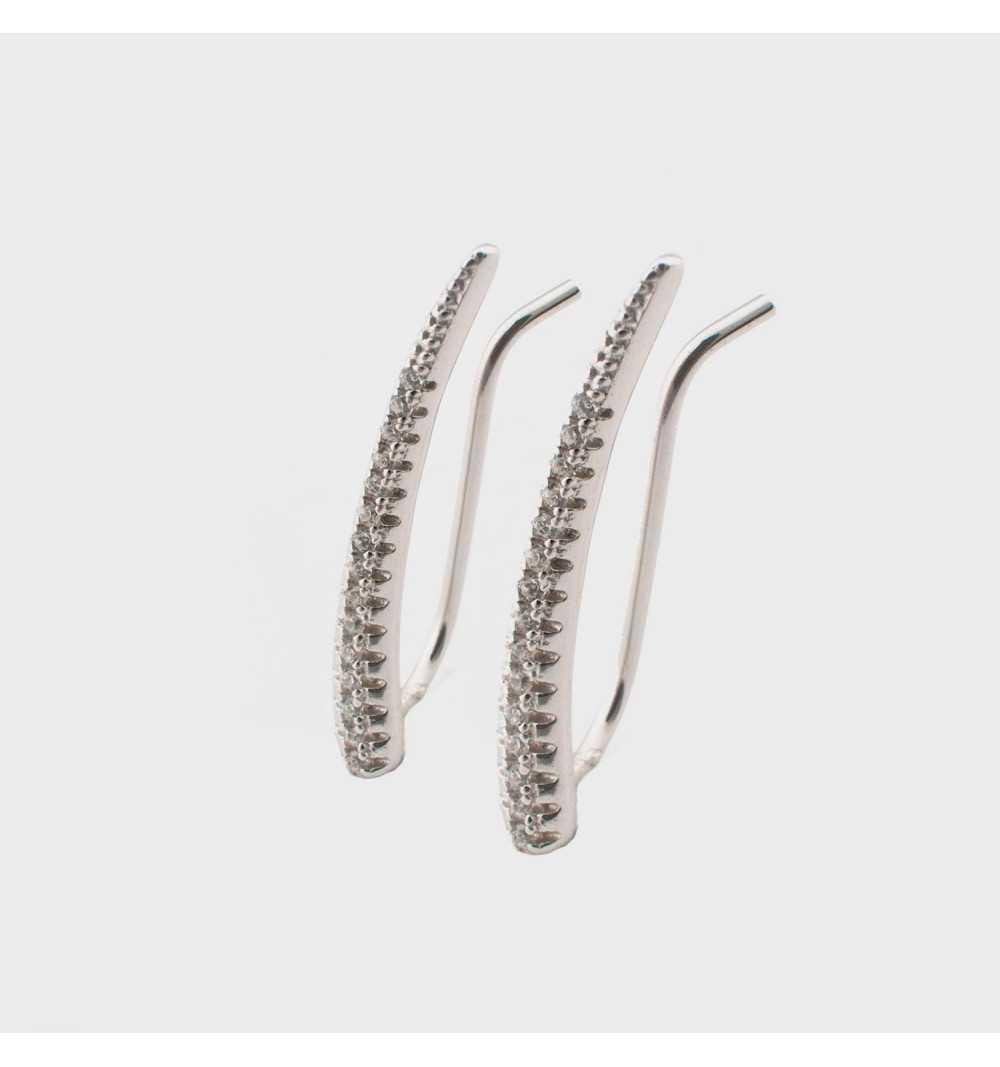 Srebrne kolczyki nausznice z cyrkoniami