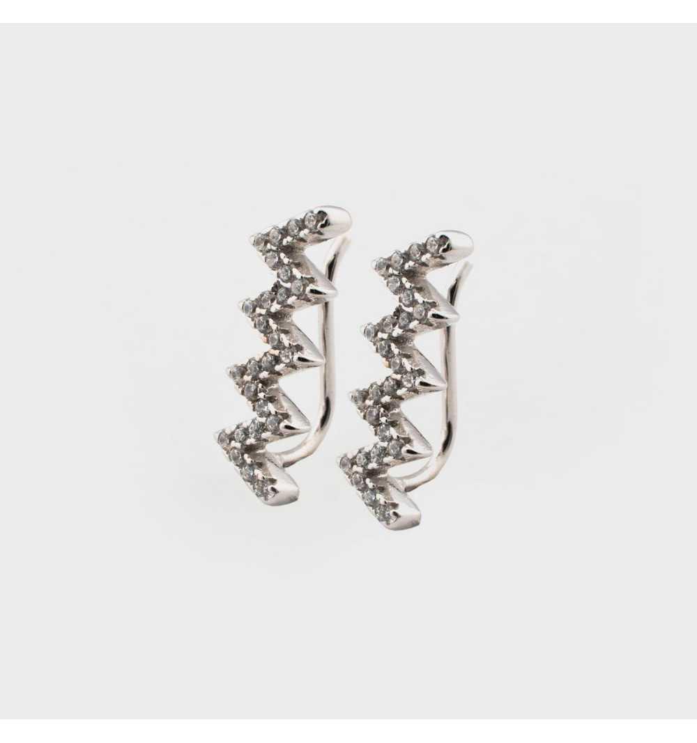 Srebrne kolczyki zygzaki nausznice z cyrkoniami