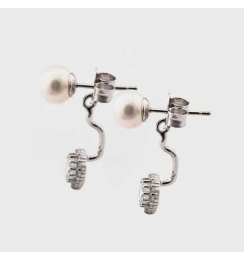 Srebrne kolczyki za ucho z perłami i białymi cyrkoniami