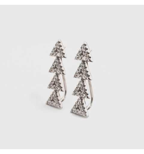 Srebrne kolczyki nausznice trójkąty z cyrkoniami