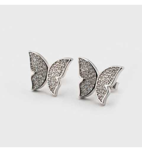 Srebrne kolczyki motylki wysadzane cyrkoniami