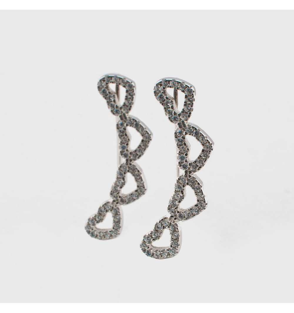 Srebrne kolczyki nausznice z serduszkami wysadzanymi cyrkoniami
