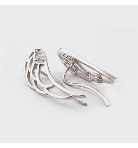 Srebrne kolczyki nausznice ze skrzydłami wysadzanymi cyrkoniami