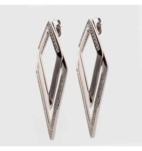 Długie srebrne kolczyki za ucho z cyrkoniami
