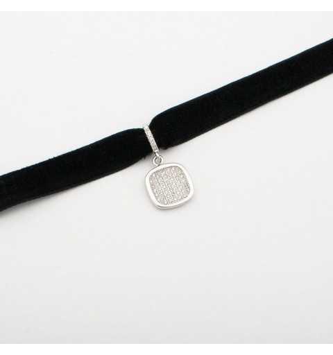 Srebrny naszyjnik choker z kwadratem (dusik, aksamitka)