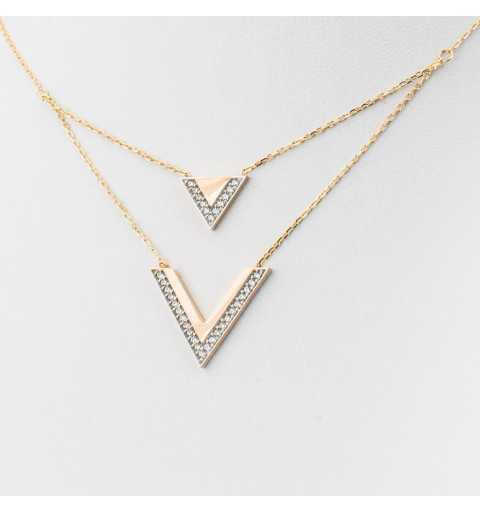 Złoty naszyjnik celebrytka z V i trójkątem wysadzanymi cyrkoniami