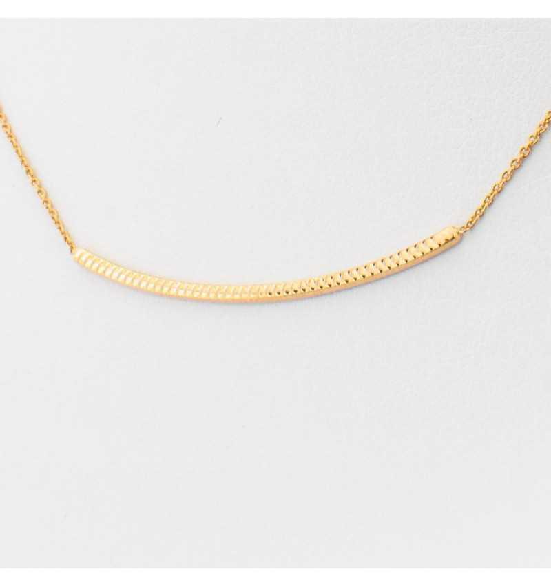 Złoty naszyjnik celebrytka z delikatną rurką