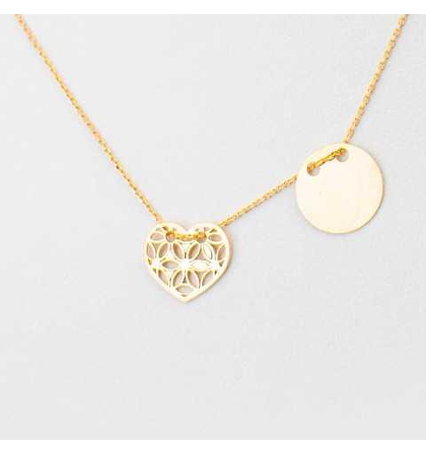 Złoty naszyjnik celebrytka z kółkiem i ornamentowym sercem