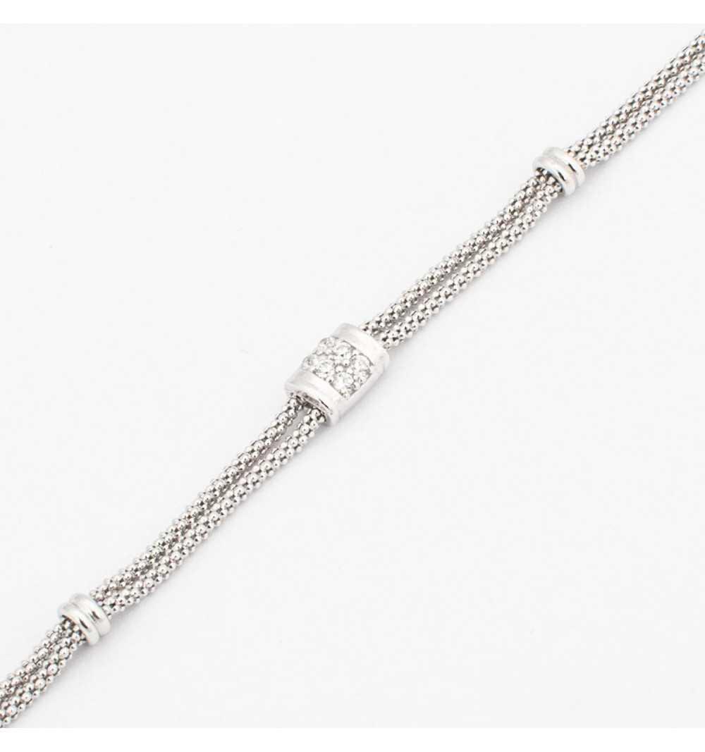 Srebrna bransoletka na dwóch łańcuszkach z elementem wysadzanym cyrkoniami