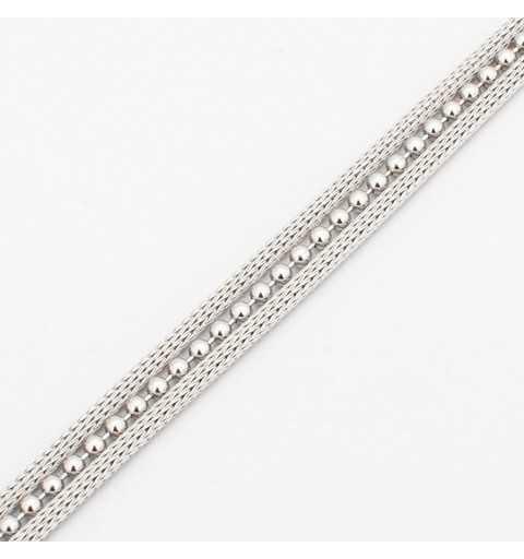 Srebrna bransoletka  z dwoma gładkimi i jednym ozdobnym łańcuszkiem