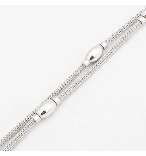 Srebrna bransoletka z dwóch łańcuszków ozdobionych srebrnymi łezkami