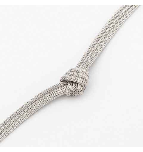 Srebrna bransoletka z trzech ozdobnie zawiązanych łańcuszków