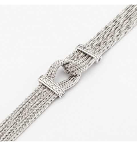 Srebrna bransoleta z sześcioma elegancko przewleczonymi łańcuszkami