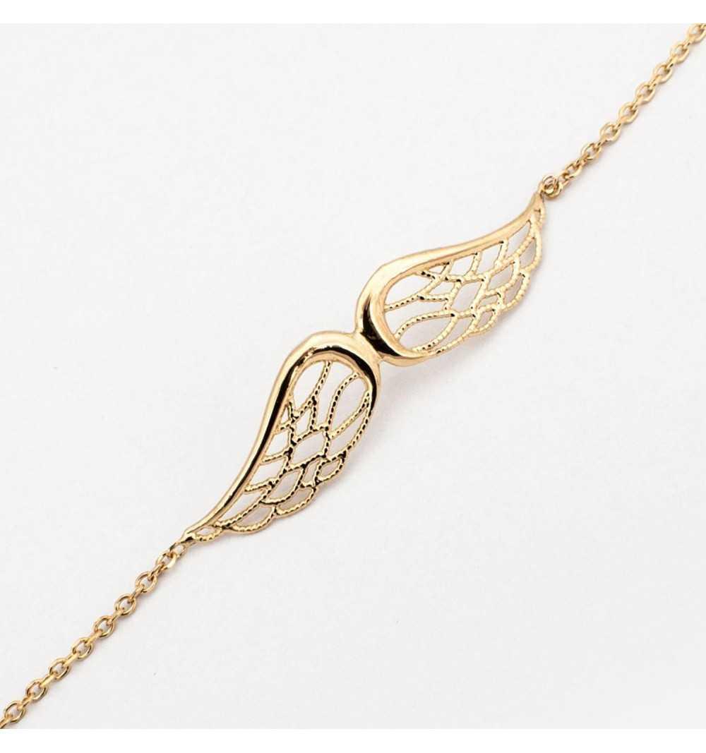 Pozłacana srebrna bransoletka ze skrzydłami