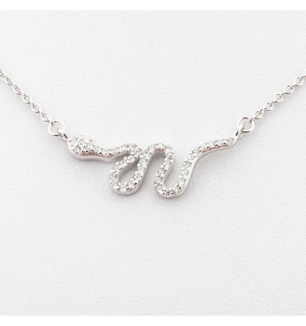 Srebrny naszyjnik z wężem wysadzanym cyrkoniami