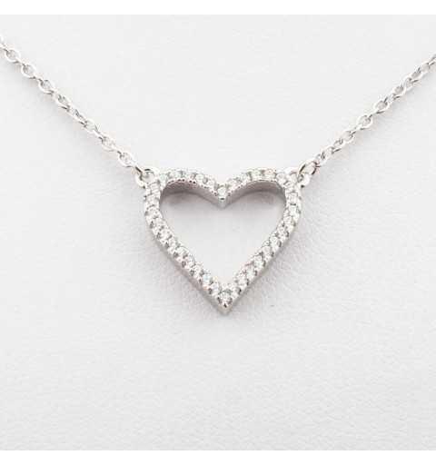 Srebrny naszyjnik z sercem wysadzanym cyrkoniami