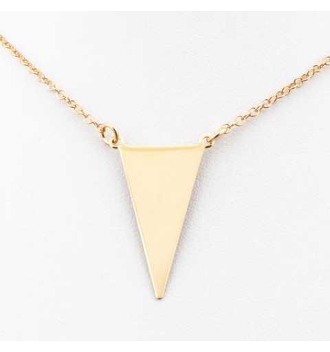 Pozłacany długi srebrny naszyjnik z trójkątem