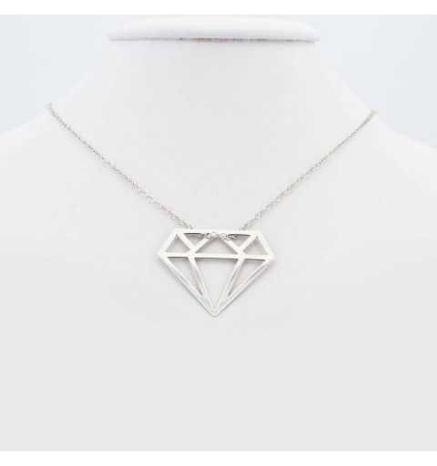 Długi srebrny naszyjnik diament