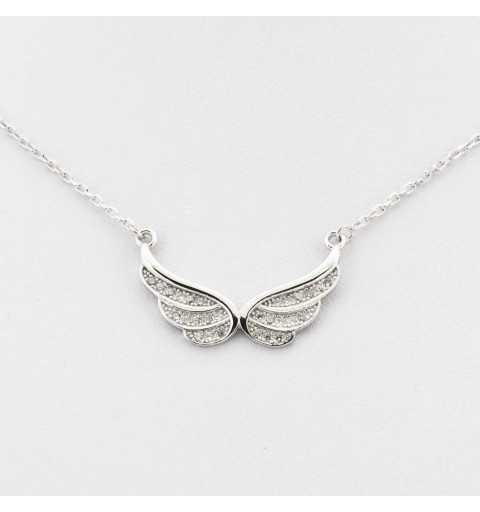 Srebrny naszyjnik ze skrzydełkami wysadzanymi cyrkoniami