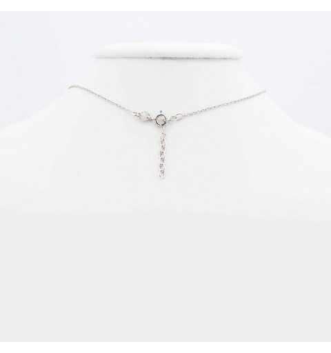 Srebrny naszyjnik z przekładanym kółeczkiem i wiszącym elementem