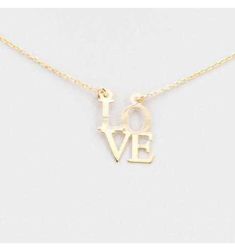 Pozłacany srebrny naszyjnik LOVE