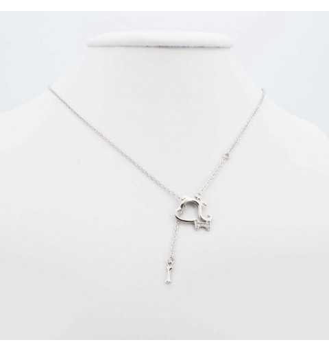 Srebrny naszyjnik piesek z kością