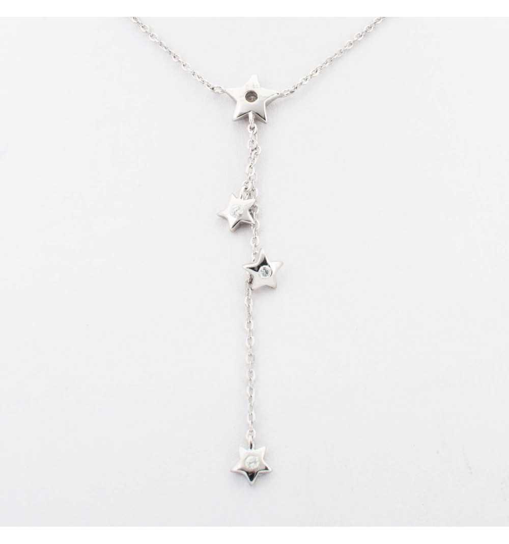 Srebrny naszyjnik z gwiazdkami z białymi cyrkoniami