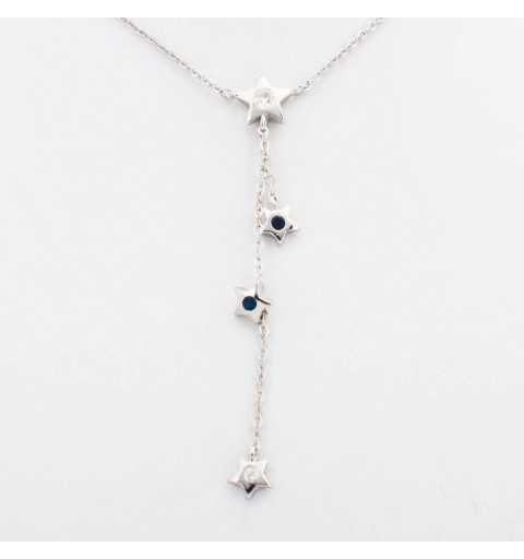 Srebrny naszyjnik z gwiazdkami z białymi i niebieskimi cyrkoniami