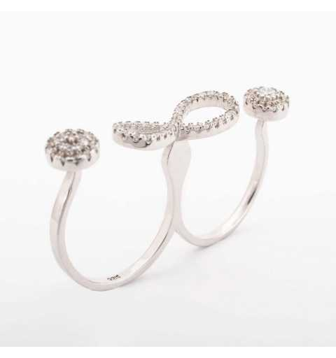 Srebrny podwójny pierścionek z nieskończonością