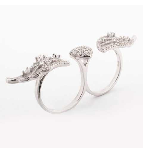 Srebrny podwójny pierścionek ze skrzydłami i sercem