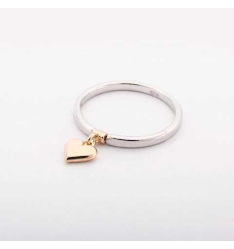 Srebrny pierścionek z pozłacanym sercem