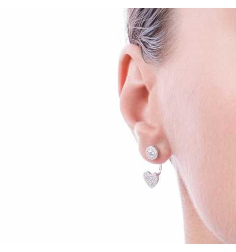 Srebrne kolczyki za ucho z sercem