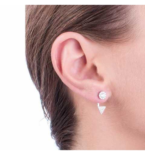 Srebrne kolczyki kółko i trójkąt z cyrkoniami zakładane za ucho