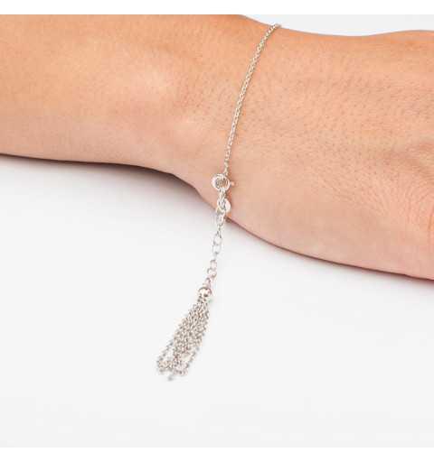 Srebrna bransoletka z serduszkiem i wiszącą końcówką