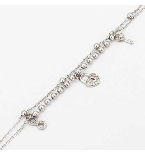 Srebrna bransoletka z nieskończonością, kluczem i kłódką