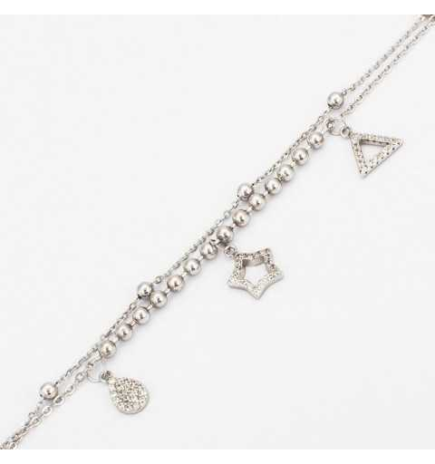 Srebrna bransoletka z gwiazdką, łezką i trójkątem