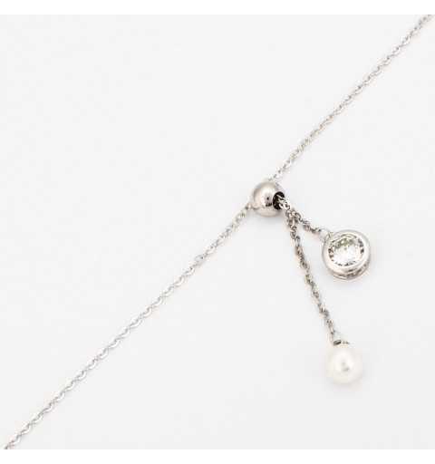 Srebrna bransoletka z perłą i cyrkonią