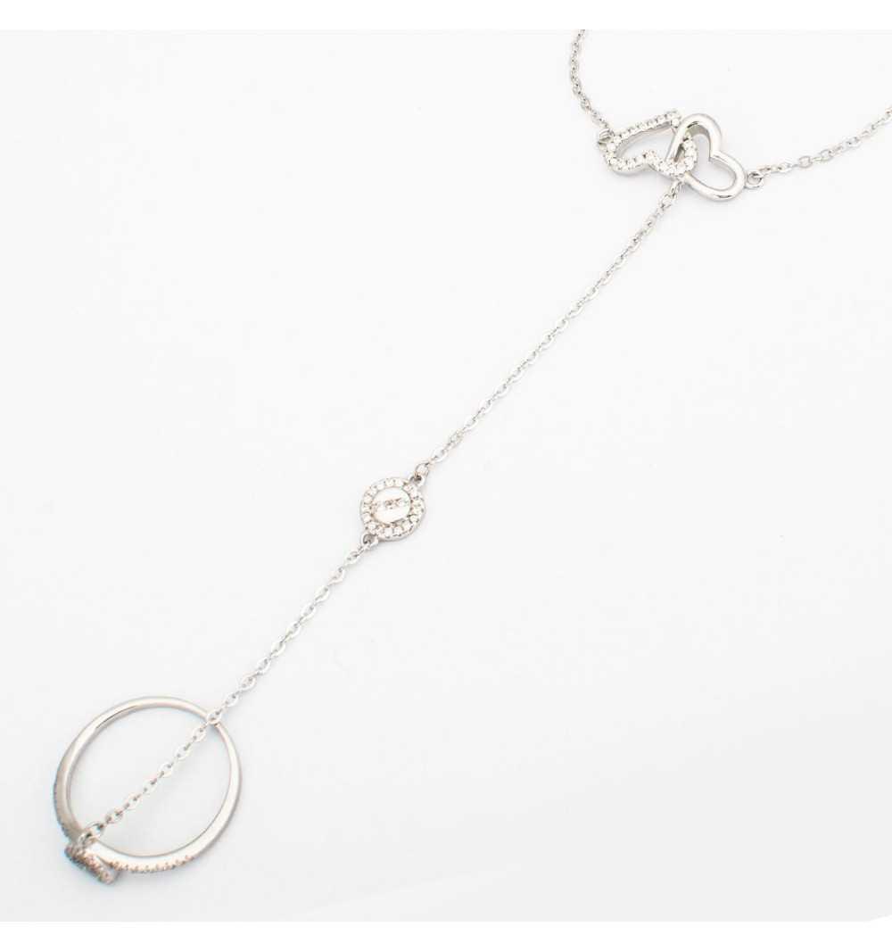 Srebrna bransoletka z serduszkami połączona z pierścionkiem