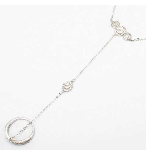 Srebrna bransoletka z kółeczkami połączona z pierścionkiem