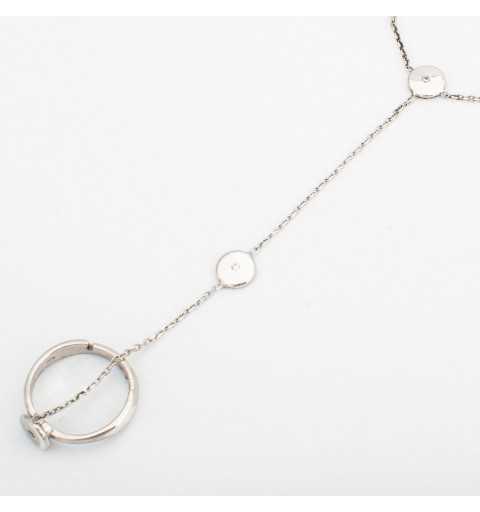 Srebrna bransoletka z kółeczkami połączona z pierścionkiem delikatnym łańcuszkiem