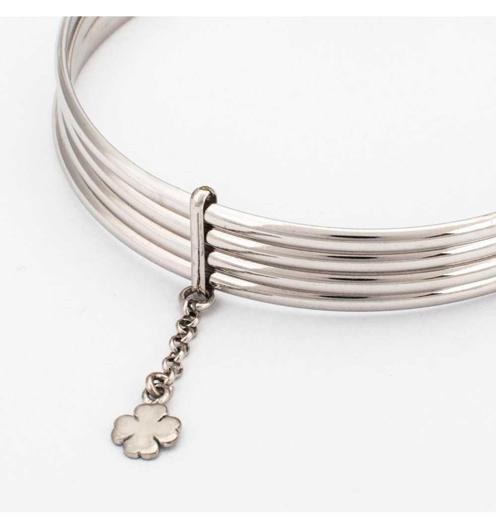 Srebrna sztywna bransoletka z nieskończonością
