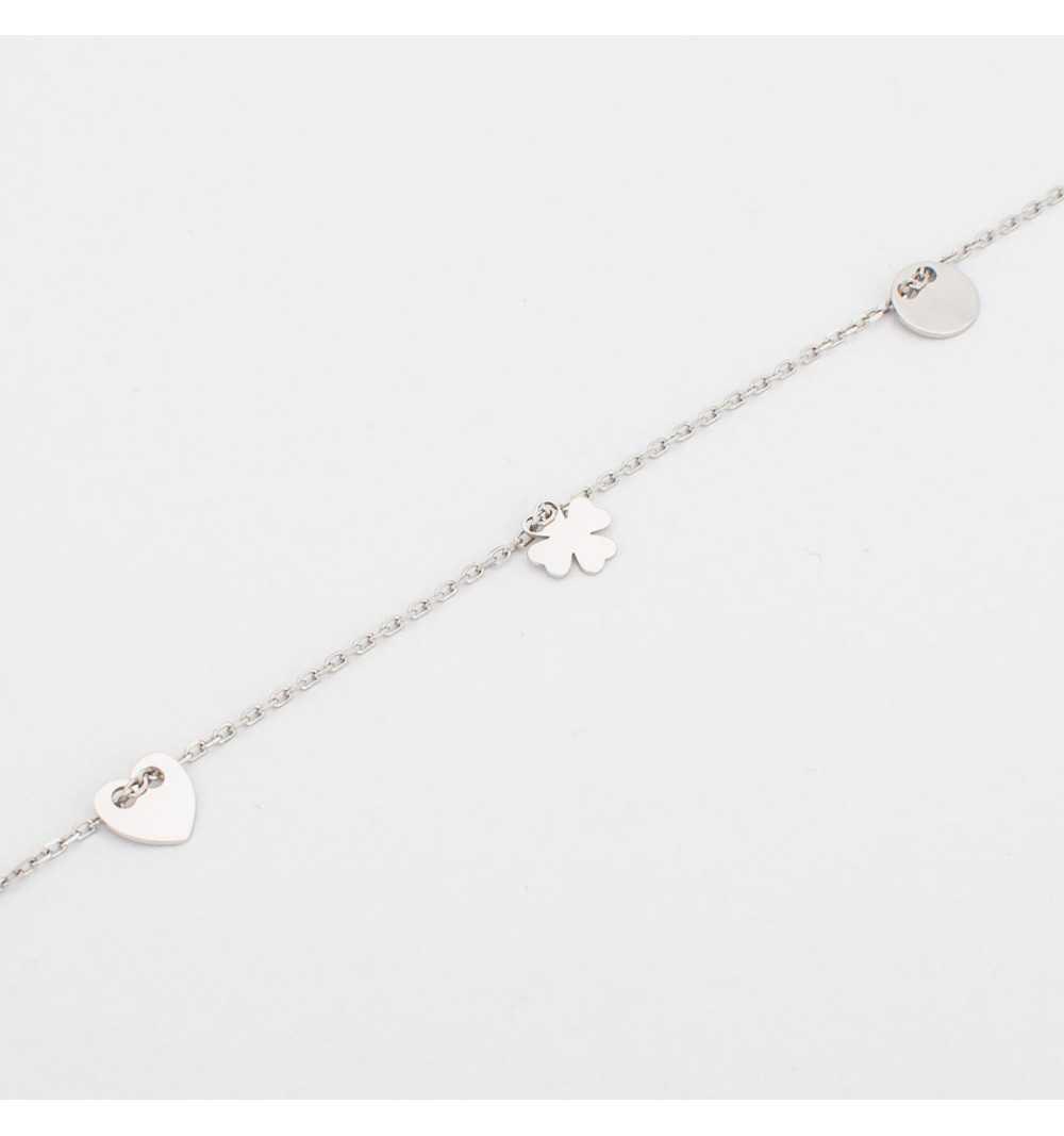 Srebrna bransoletka z koniczyną, sercem i kółeczkiem