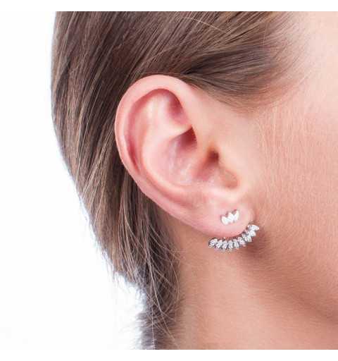 Srebrne kolczyki za ucho z cyrkoniami