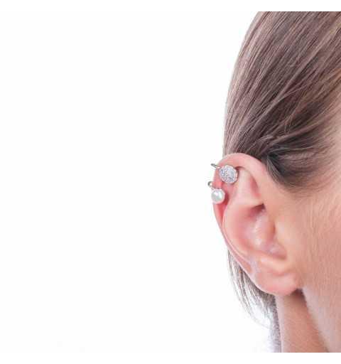 Srebrne kolczyki nausznice z perłami i kółkami wysadzanymi cyrkoniami