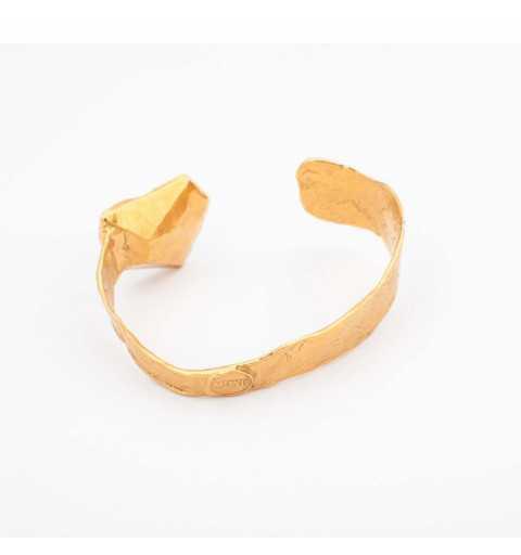 Pozłacana srebrna bransoletka MOTYLE z kryształem Swarovskiego VOLCANO