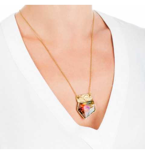 Pozłacany srebrny naszyjnik MOTYLE z kryształem Swarovskiego VOLCANO