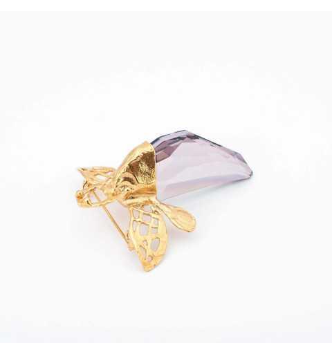Srebrna broszko-przywieszka MOTYLE z kryształem Swarovskiego ANTIQUE PINK