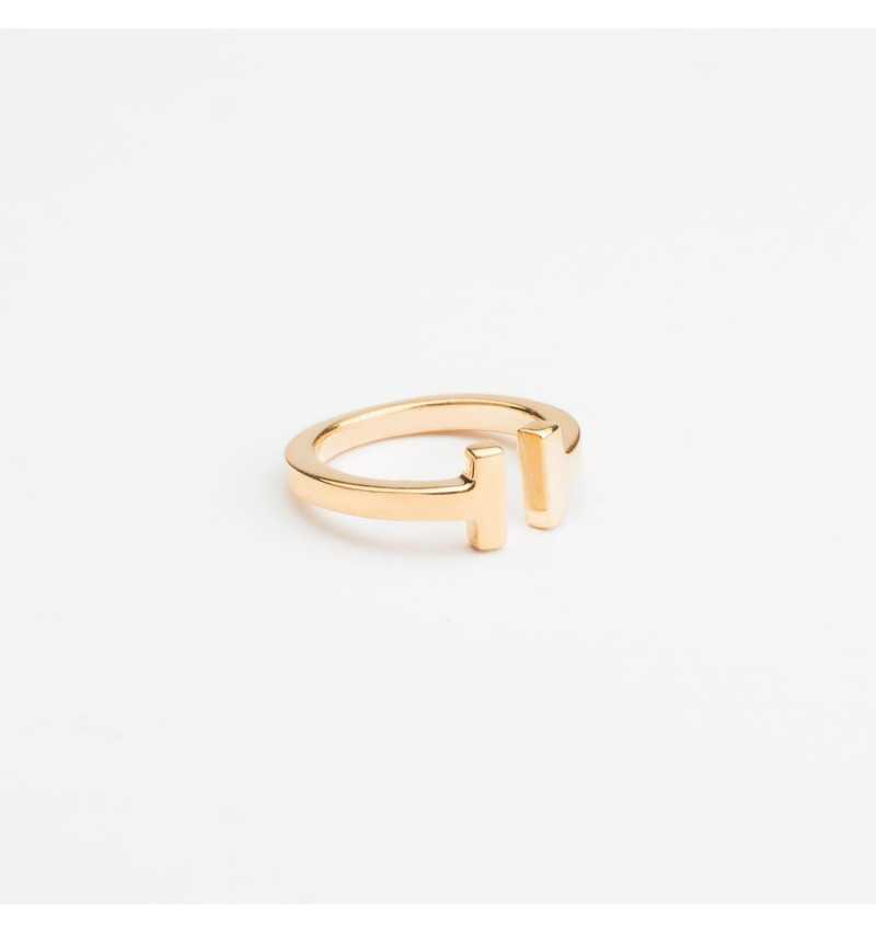 Pozłacany srebrny pierścionek T collection