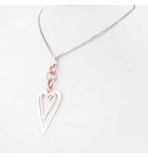 Srebrny naszyjnik z serduszkami na frezowanych kółeczkach pozłacany różowym złotem