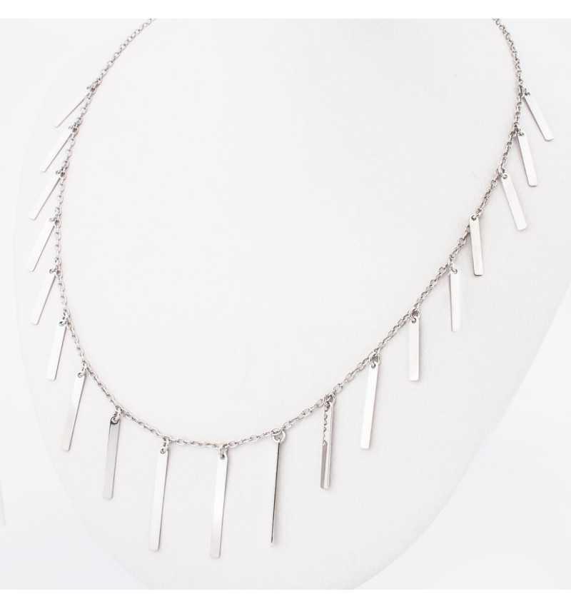 Długi srebrny naszyjnik z migotającymi pałeczkami
